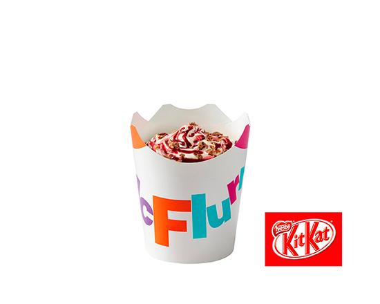 McFlurry o smaku waniliowym z polewą wiśniową i posypką Kit-Kat